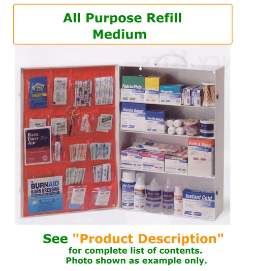 Complete variety of products to resupply an empty medium all purpose cabinet. Have all of the products you need to be prepared for your Workforce with all purpose needs