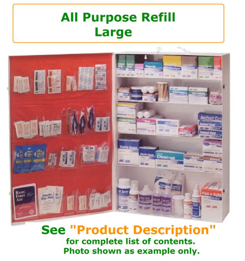 Complete variety of products to resupply an empty large all purpose cabinet. Have all of the products you need to be prepared for your Workforce with all purpose needs
