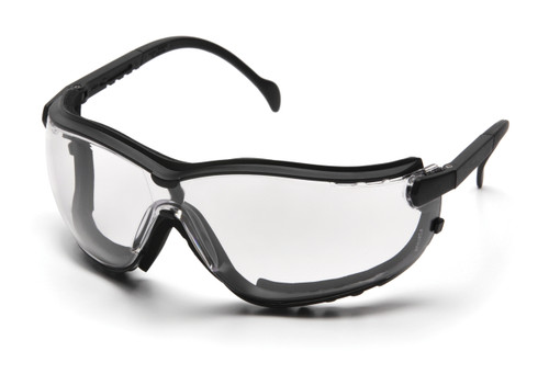 Exceeds Z87.1 High Impact Requirements; *CE EN166; *CSA Z94.3-07;*AS/NZS 1337; MIL-PRF 32432  V2G FEATURES      Lens and frame vented to increase air flow.     Headband and temples feature ratchet adjustment for perfect fit, features quickfit retainer.     Interchangeable temples and headband included with each pair of V2G     Flame resistant foam padding forms perfect seal to keep out dust and airborne particles.     9.75 base curved lens provides full side protection, treated to prevent fogging and self seal small scratches, provides 99.9% protection against harmful UV rays.