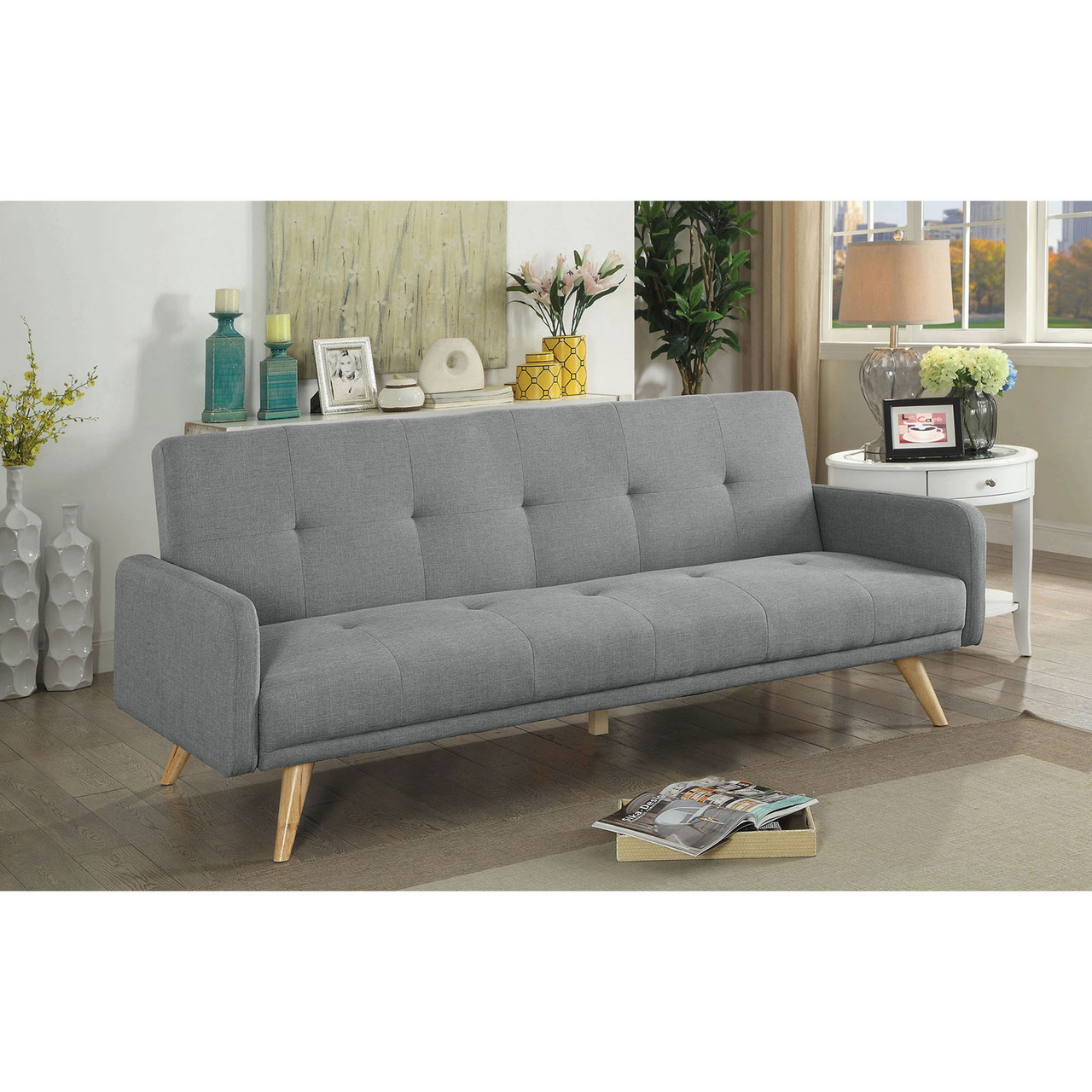 The Burgos Mid Century Modern Futon Sofa Available At Furniture Express Hi Serving Honolulu Hi And Surrounding Areas