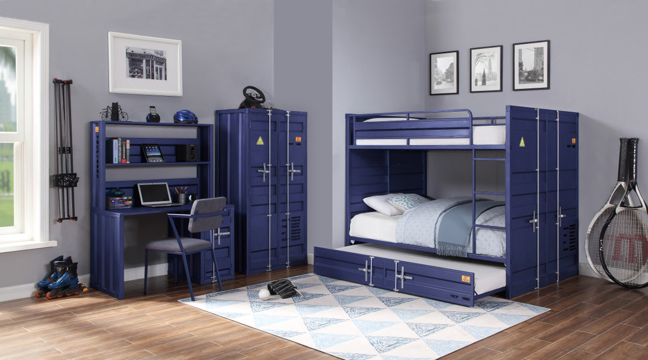 Picture of: The Cargo Bunk Bed Twin Twin Blue 1set 2ctn Available At Furniture Express Hi Serving Honolulu Hi And Surrounding Areas