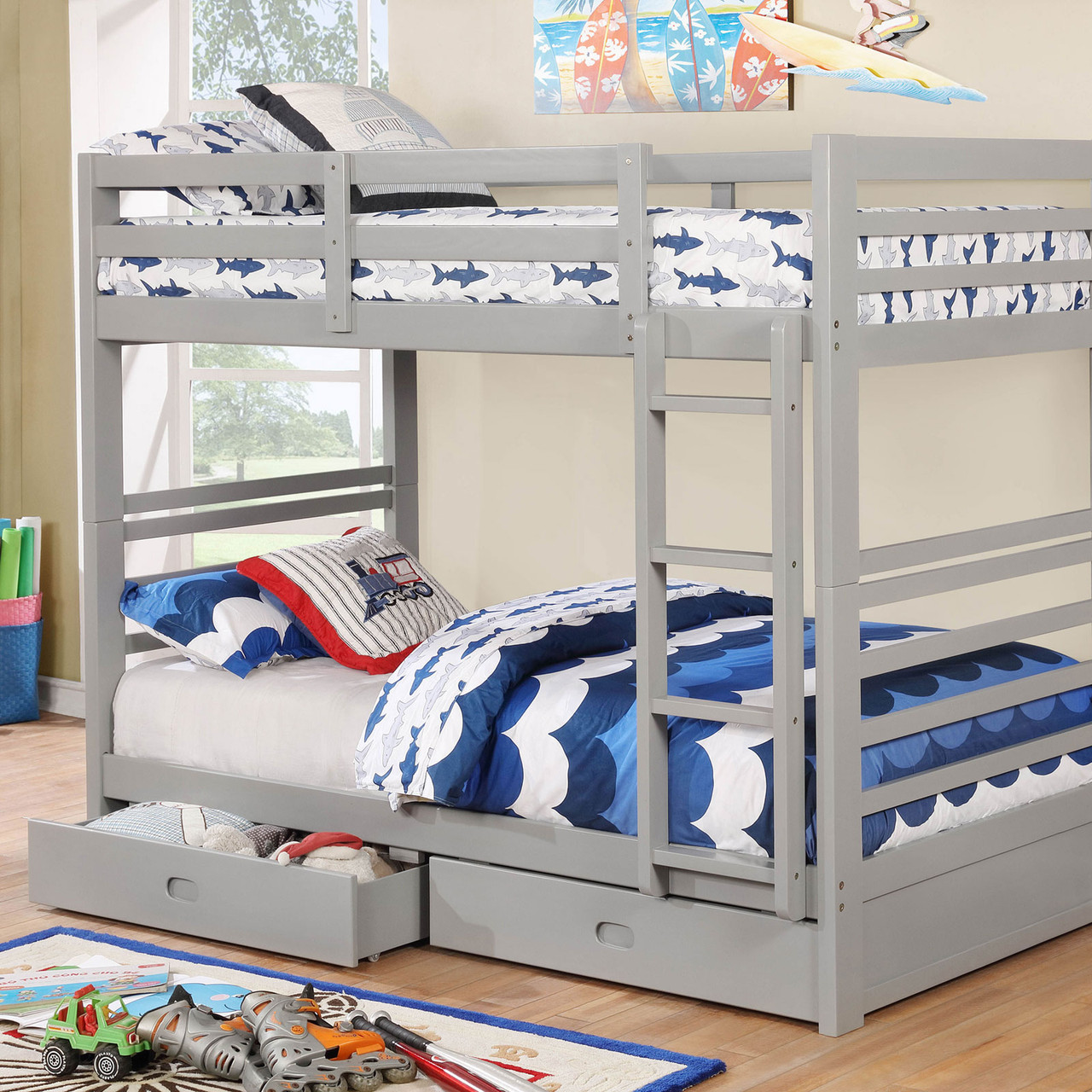 Picture of: The California Iv Transitional Twin Twin Bunk Bed In Grey Available At Furniture Express Hi Serving Honolulu Hi And Surrounding Areas