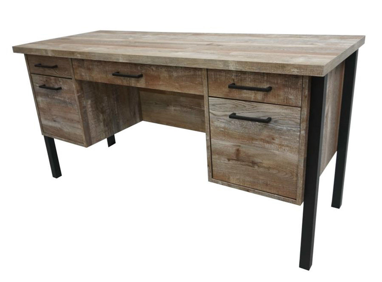 The Samson Rustic Weathered Oak Office Desk Available At Furniture Express Hi Serving Honolulu Hi And Surrounding Areas