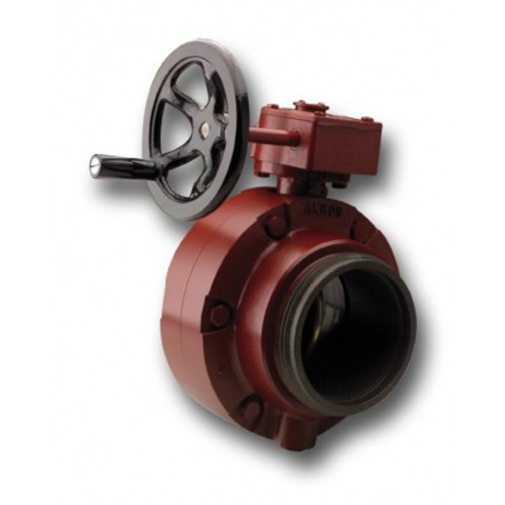 "Akron 4.5"" Butterfly Valve with Manual Handwheel & Adapters"