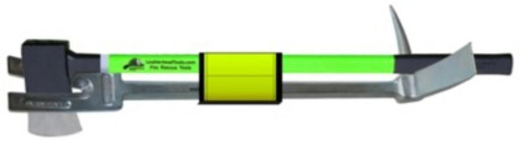 "Leatherhead Tools Irons with 30"" Halligan, HiViz Lime 6 lb Flat Head Axe with Velcro Strap"