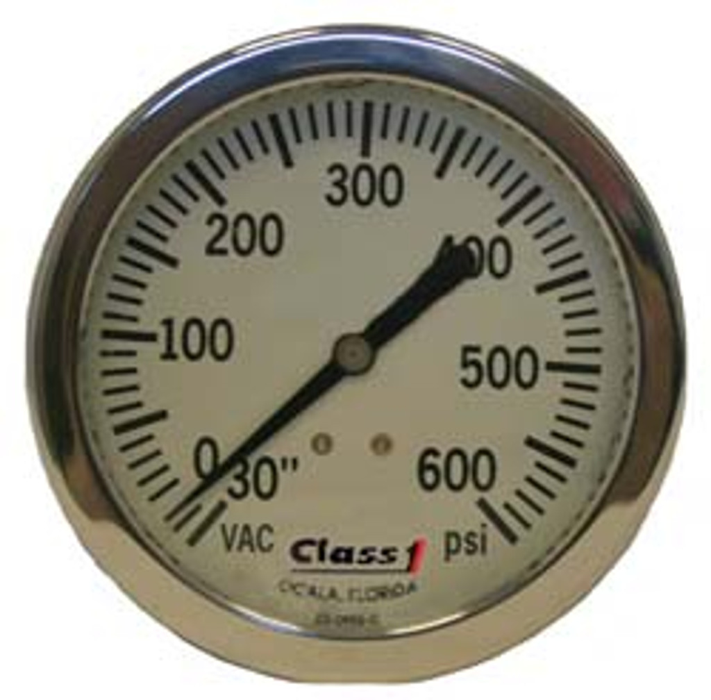 "Class 1 #91663964 6.0"" Liquid Filled White Face Pump Panel Gauge - (-30-600)"