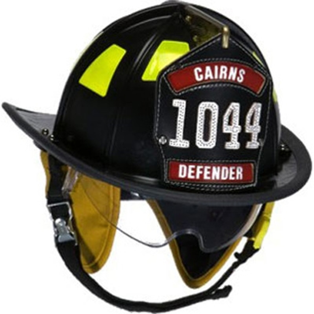 "Cairns #1044DS-B Black 1044 Traditional Helmet W/ Defender Lens, Standard Liner, and 6"" Silk Eagle"