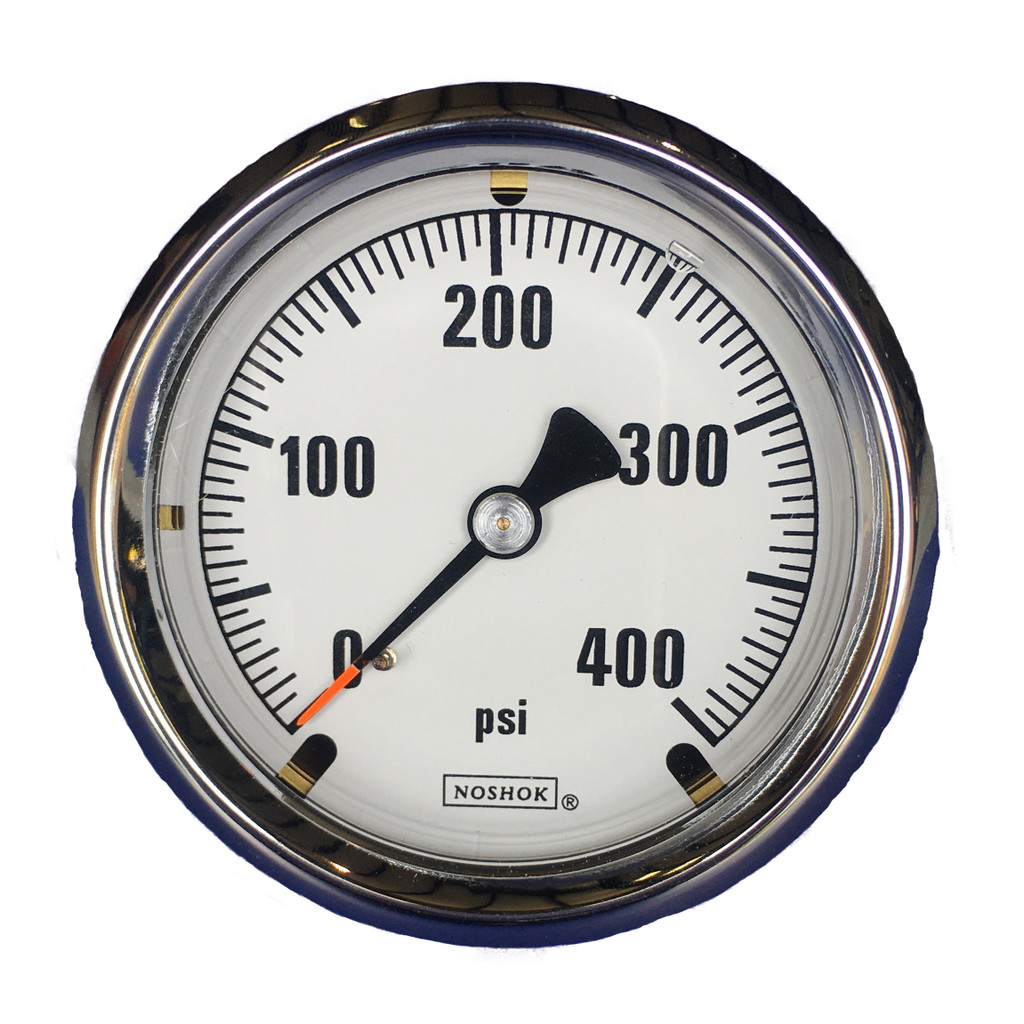 "Innovative Controls #3010113-OTP ""NOSHOK"" 4.0"" Dia. Brass Case Gauge, White Background w/ Orange Tip Pointer - CHOOSE PSI"