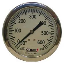 """Class 1 #91583953 4.5"""" Liquid Filled White Face Pump Panel Gauge- (-30-600)"""