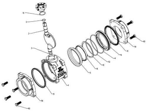 """Akron Field Service/Conversion Kit for Style 8840 4"""" Heavy Duty Swing-Out Valve with Flat ball"""