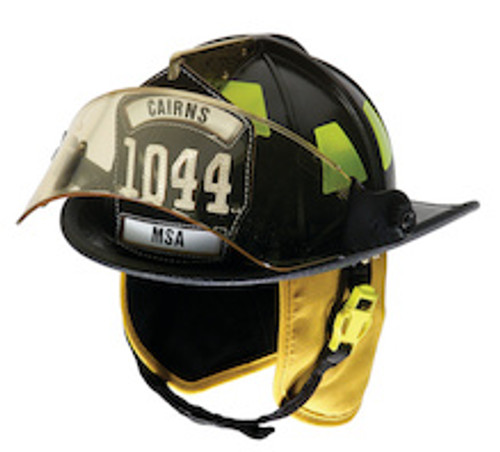 "Cairns #1044FS Standard Traditional Fiberglass Composite Matte Finish Fire Helmet with 4"" Faceshield"