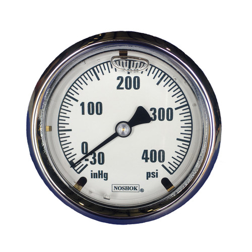 "Innovative Controls #3010113 ""NOSHOK"" 4.0"" Dia. Brass Case Gauge, White Background - CHOOSE PSI"