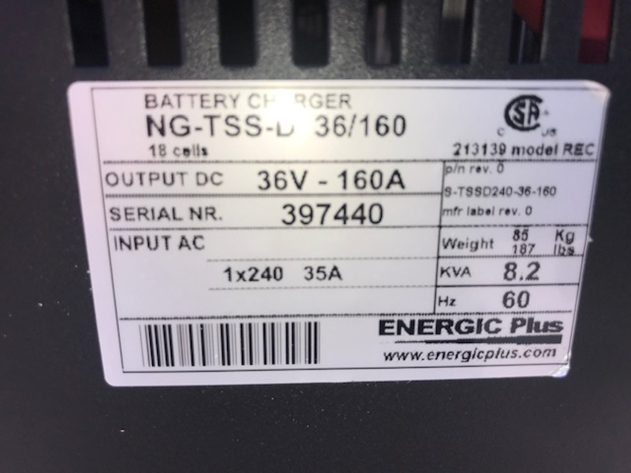 36 Volt NEW Single Phase Battery Charger  865 Amp Hour 208/240/480 Volts Input