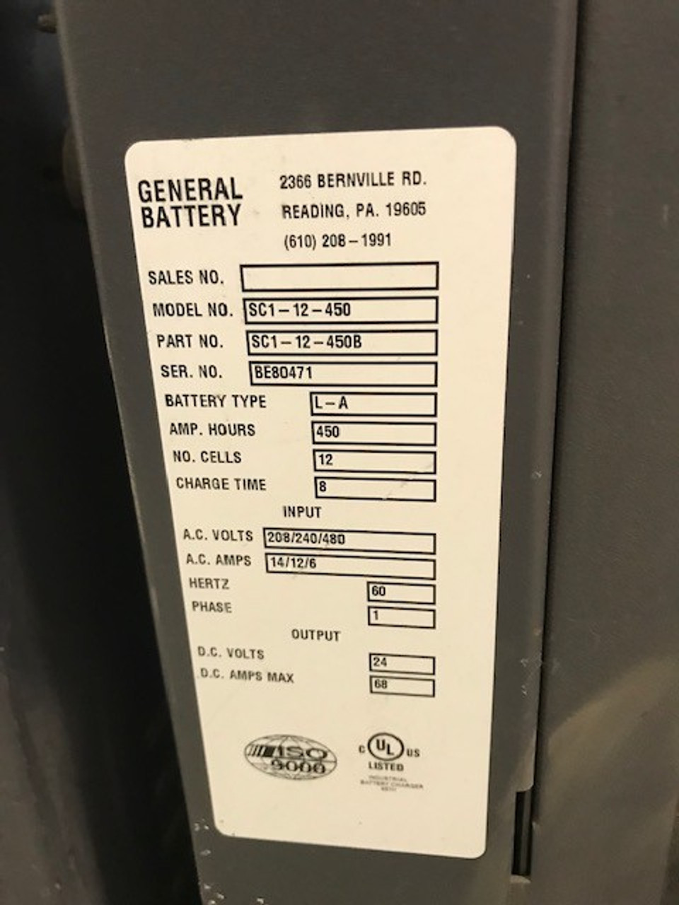 Single Phase 24 Volt Stock Picker Battery Charger