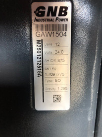 2018 Tested 24 Volt GNB Industrial Battery 12 Cells 875 Amp Hours Type EO