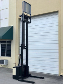 Crown electric walkie stacker, side shift, 130 inch maximum height, for sale.