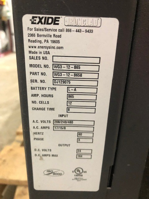 24 Volt Enersys Exide Gold Forklift Battery Charger 3 Phase 865 Amp Hour 208/240/480 Volts  input