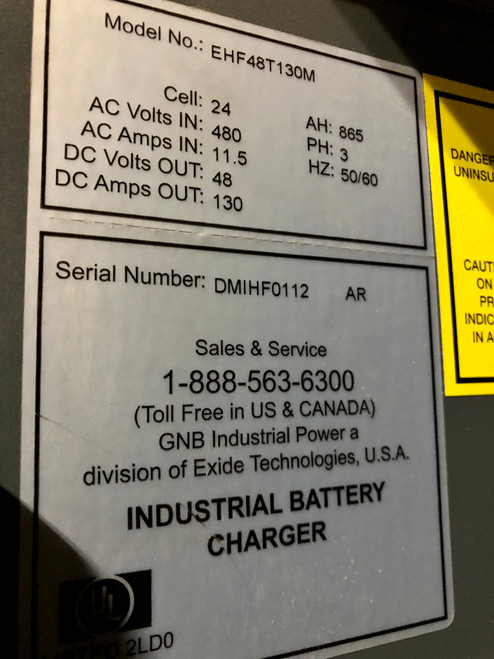 48 Volt  Used 3 Phase Battery Charger  865 Amp Hour  480 Volts Input