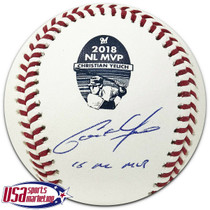 "Christian Yelich Brewers Signed ""18 NL MVP"" 2018 NL MVP Logo Baseball BAS Auth"