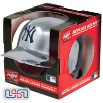 New York Yankees Silver Chrome Rawlings Mini MLB Baseball Batting Helmet