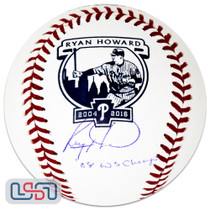 """Ryan Howard Phillies Signed """"08 WS Champs"""" Retirement Game Baseball JSA Auth"""