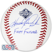 """Howie Kendrick Signed """"Fight Finished"""" 2019 World Series Game Baseball JSA Auth"""