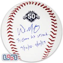 "Whit Merrifield Royals Signed ""Hit Streak"" 50th Anniversary Baseball JSA Auth"