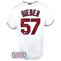 Shane Bieber Signed Authentic White Cleveland Indians Majestic Jersey JSA Auth