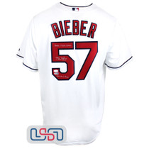 """Shane Bieber Signed """"2020 TC / CY"""" White Indians Majestic Jersey JSA Auth"""