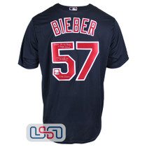 Shane Bieber Signed Authentic Blue Cleveland Indians Majestic Jersey JSA Auth #2