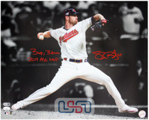"""Shane Bieber Indians Signed """"3 Up, 3 Down"""" 16x20 Photo Photograph JSA Auth"""