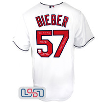 Shane Bieber Signed Triple Crown STAT White Indians Majestic Jersey JSA Auth