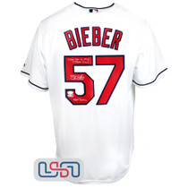 """Shane Bieber Signed """"Not Justin"""" White Indians Majestic Jersey JSA Auth"""