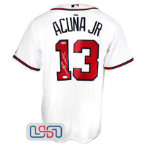 Ronald Acuna Jr. Signed White Authentic Atlanta Braves Majestic Jersey JSA Auth