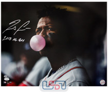 "Ronald Acuna Jr. Braves Signed ""2018 NL ROY"" 16x20 Photo Photograph JSA Auth #4"