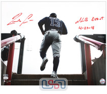 """Ronald Acuna Jr. Braves Signed """"MLB Debut 4-25-18"""" Rookie Photo JSA Auth #8"""
