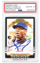Ronald Acuna Jr. Braves Signed 2019 Donruss Diamond Kings #16 PSA/DNA 10 Auto
