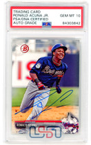 Ronald Acuna Jr. Braves Signed 2017 Bowman Draft RC #BD-39 PSA/DNA 10 Auto