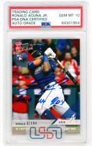 "Ronald Acuna Jr. Braves Signed ""2018 NL ROY"" Topps Now RC #125 PSA/DNA 10 Auto"