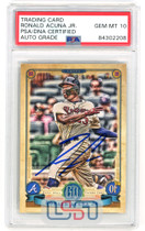 Ronald Acuna Jr. Braves Signed 2019 Topps Gypsy Queen #150 PSA/DNA 10 Auto