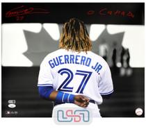 "Vladimir Guerrero Jr. Blue Jays Autographed ""O Canada"" 16x20 Photo JSA Auth #7"