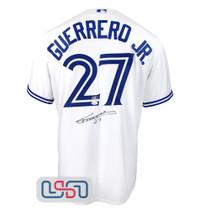 "Vladimir Guerrero Jr. Autographed ""#27"" White Blue Jays Nike Jersey JSA Auth"