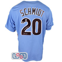 """Mike Schmidt Signed """"HOF 95"""" Blue Authentic Phillies Cooperstown Jersey JSA Auth"""