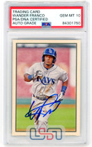 Wander Franco Tampa Bay Rays Signed 2019 Bowman Heritage #53P-1 PSA/DNA 10 Auto
