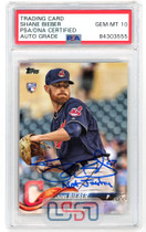 """Shane Bieber Signed """"Not Justin"""" 2018 Topps Update #US198 PSA/DNA 10 Auto"""