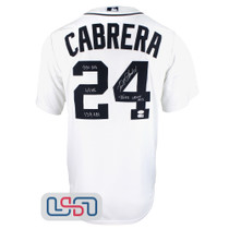 Miguel Cabrera Signed 2012 Triple Crown Stat White Tigers Nike Jersey JSA Auth
