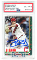 Shane Bieber Indians Signed 2019 Topps Holliday #HW53 PSA/DNA 10 Auto