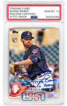 """Shane Bieber Signed """"2020 TC/CY"""" 2018 Topps Update #US198 PSA/DNA 10 Auto"""