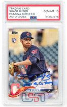 """Shane Bieber Indians Signed """"Cy Young"""" 2018 Topps Update #US198 PSA/DNA 10 Auto"""