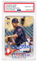 Shane Bieber Cleveland Indians Signed 2018 Topps Update #US198 PSA/DNA 10 Auto